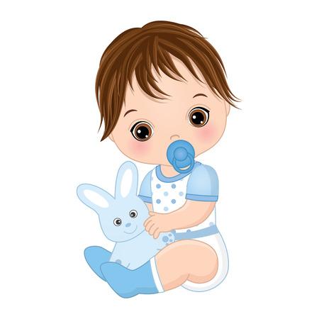 Vector cute baby boy with toy bunny. Vector baby boy with dummy. Vector baby boy shower. Baby boy vector illustration