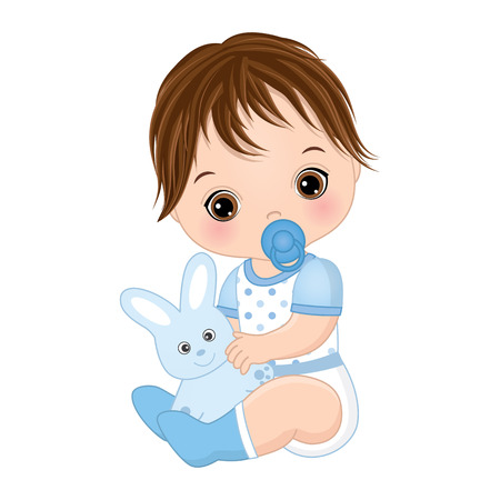 Vector cute baby boy with toy bunny. Vector baby boy with dummy. Vector baby boy shower. Baby boy vector illustration