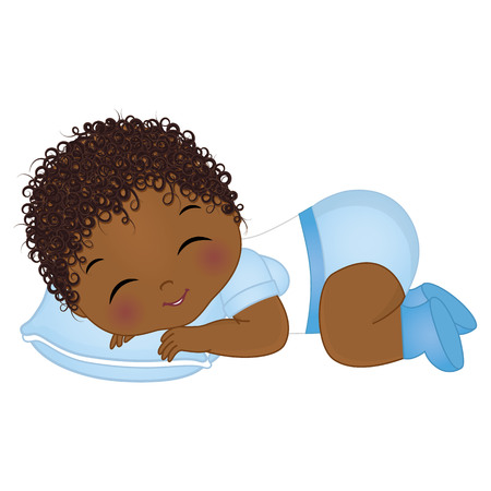 Vector cute African American baby boy sleeping. Vector baby boy shower. African American baby boy vector illustration