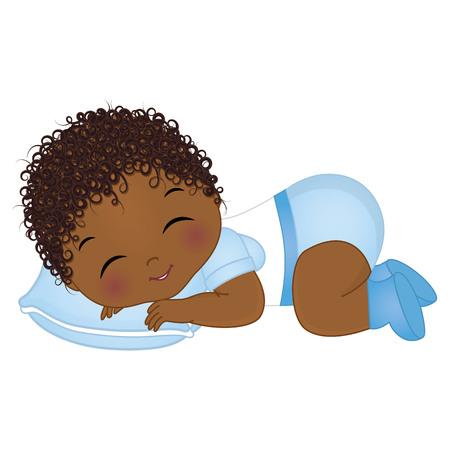 Vector lindo bebé afroamericano durmiendo. Ducha de bebé de vector. Ilustración de vector de niño bebé afroamericano