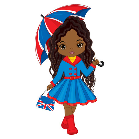 Vector cute young African American girl holding umbrella and handbag with British flag print. Vector African American girl. Beautiful African American girl vector illustration