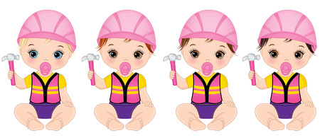 Vector cute baby girls dressed as little builders and holding hammers. Vector baby girl shower. Vector construction. Baby girls vector illustration