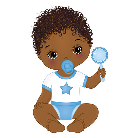 Vector cute African American baby boy with rattle. Vector baby boy with dummy. Vector baby boy shower. African American baby boy vector illustration