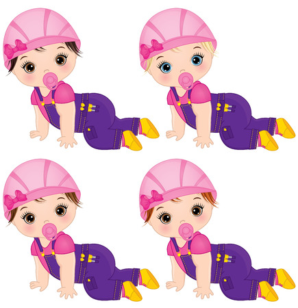 Vector cute baby girls dressed as little builders. Vector baby girl. Vector construction. Baby girls vector illustration