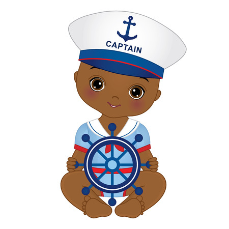 cute African American baby boy dressed in nautical style. Illustration