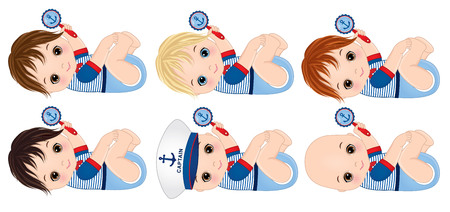 bebés varones vestidos de estilo náutico, sosteniendo sonajeros. Ilustración de vector