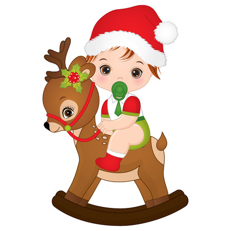 cute little baby boy wearing Christmas clothes and sitting on rocking deer. Illustration