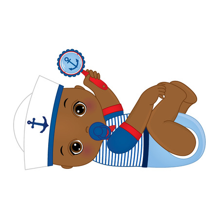 lindo y pequeño bebé afroamericano vestido con estilo náutico, sosteniendo un sonajero.