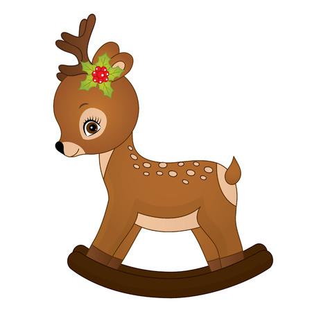 cute Christmas rocking deer. Illusztráció