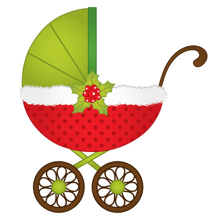 stroller in Christmas style in red, white and green colors. Illustration