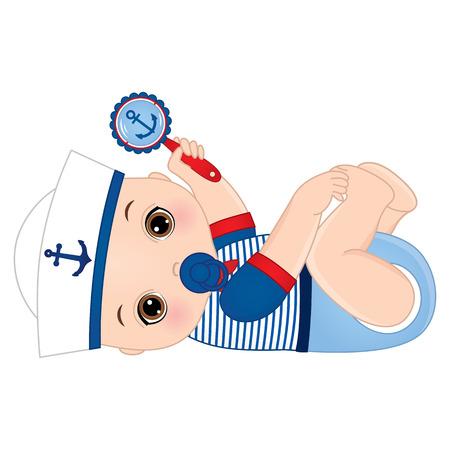lindo bebé vestido de estilo náutico, sosteniendo sonajero.