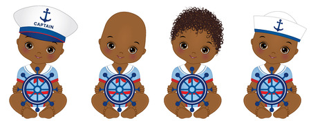 cute African American baby boys dressed in nautical style. Illustration