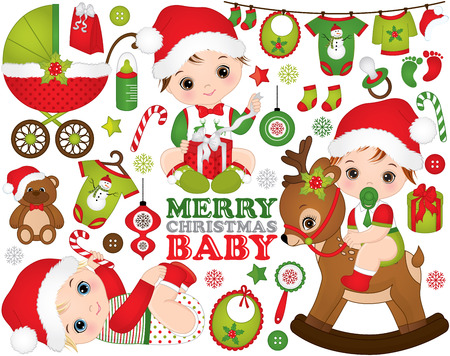 Christmas and New Year set with cute little baby boys, toys, decorations and various Xmas elements.