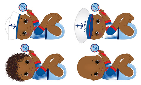 cute little African American baby boys dressed in nautical style, holding rattles.