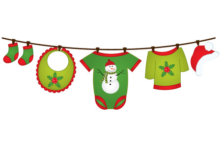 Christmas baby clothes hanging on the line.