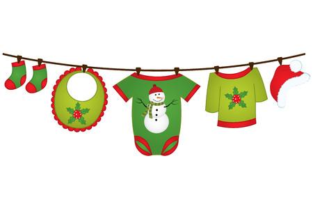 Vêtements de bébé de Noël suspendus à la ligne.