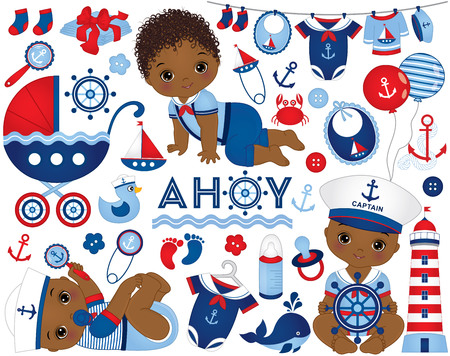 African American baby boy set in nautical style. Set includes cute baby boys, stroller, diapers, balloons, accessories, toys, clothes and nautical elements. African American Baby boy shower Illustration
