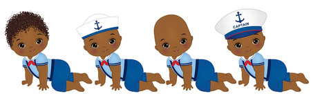 cute little African American baby boys dressed in nautical style.