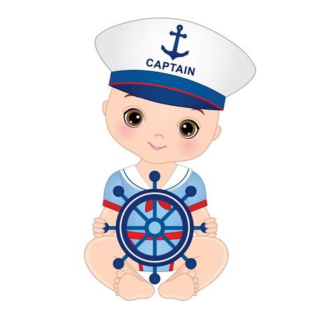 mignon petit garçon habillé dans un style nautique. Vecteurs