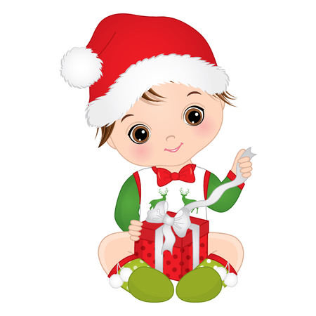 cute little baby boy wearing Christmas clothes. 向量圖像