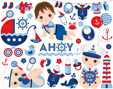 baby boy set in nautical style. Set includes cute baby boys, stroller, diapers, balloons, accessories, toys, clothes and nautical elements.