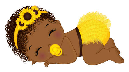 African American Sunflower Baby Girl with Pacifier Vetores