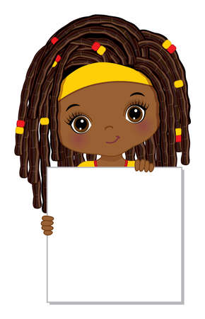 Cute Little African American Girl Holding Frame