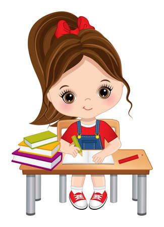 Cute Little Brunette Girl Sitting at Desk