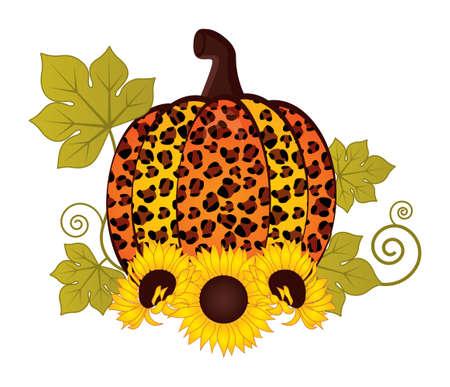 Sunflower Pumpkin Leopard. . Vector Cute Leopard Pumpkin with Sunflower