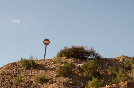 Traffic sign alone in the middle of nowhere