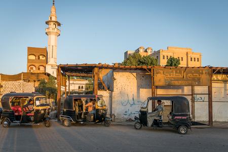 Mototaxi, tuc tuc, in the city of Edfu. Egypt. Abril 2019 Editorial