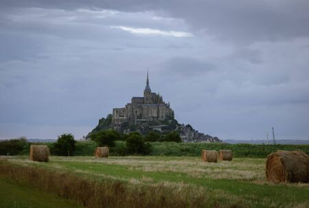 The Mont Saint Michel from the field. Stock Photo