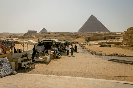 Souvenir shops in front of the Pyramids of Egypt Stock Photo