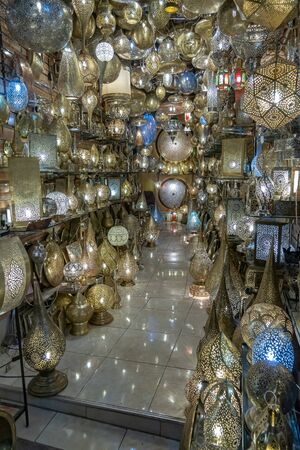 Lamp shop in the medina of Marrakech in October 2019 Stock Photo