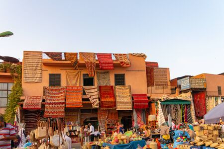 Wool and colored carpets in the market of Marrakech. Morocco