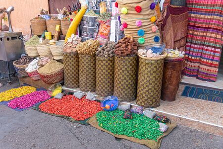 Brown bags with products for sale in a medina in Morocco