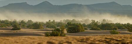 Panoramic of the Sahara desert in Merzouga. Morocco