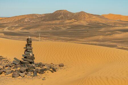 Typical desert landscape in the Atlas of the Sahara desert in Morocco