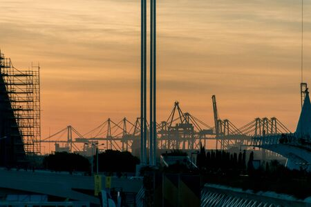 Spain. Sunset in the port of Valencia.