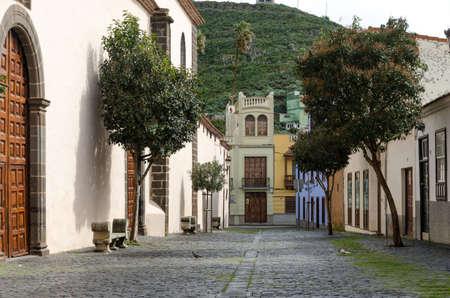 Street of San Cristóbal de La Laguna from the door of a church. Tenerife, Spain.