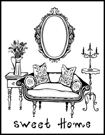 baroque room: Sweet Home. Vector illustration of vintage interior  with sofa, mirror, candlestick and table with flowers.Black line silhouette. Illustration