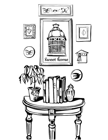 butterflies for decorations: Sweet Home. Vector illustration of vintage interior  with  console table, pictures, cage for birds, book, potted flower. Black line silhouette. Illustration