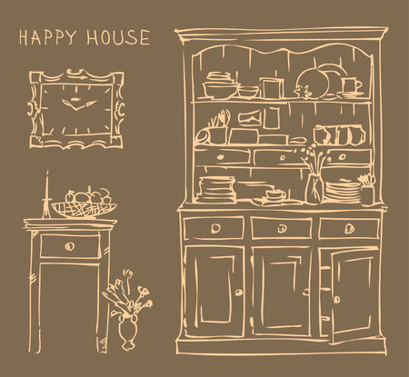 kitchen cabinet: Vintage interior of old kitchen. Vector illustration on table with candle , vase with flowers, kitchen cabinet and clock