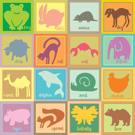 ot: Set ot sweet animals. Colored illustrations. Silhouettes