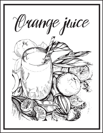 Image of a cocktail with a name, orange fresh juice. Vectores