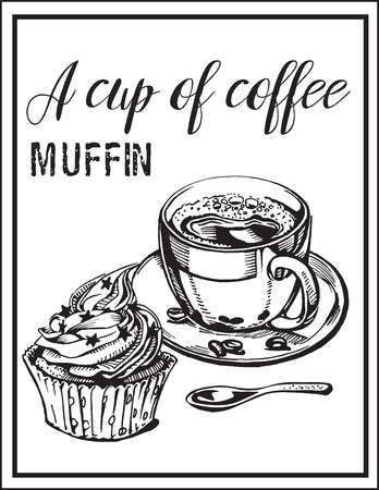 Vector image of cup of coffee with muffin.