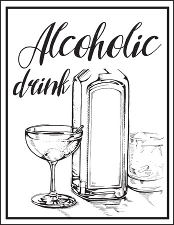 Vector image of alcohol drink , glass and bottle.