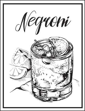 Vector image of a cocktail with a name. Negroni alcoholic drink. Ilustração