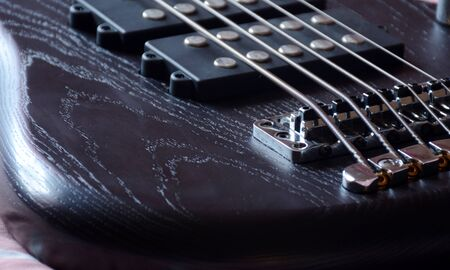 5 Strings Bass Guitar Black Oil Color Imagens