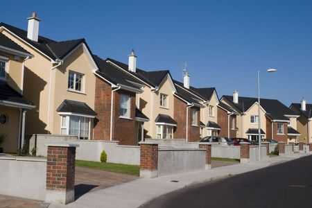 suburbs: A row of suburban houses. Stock Photo
